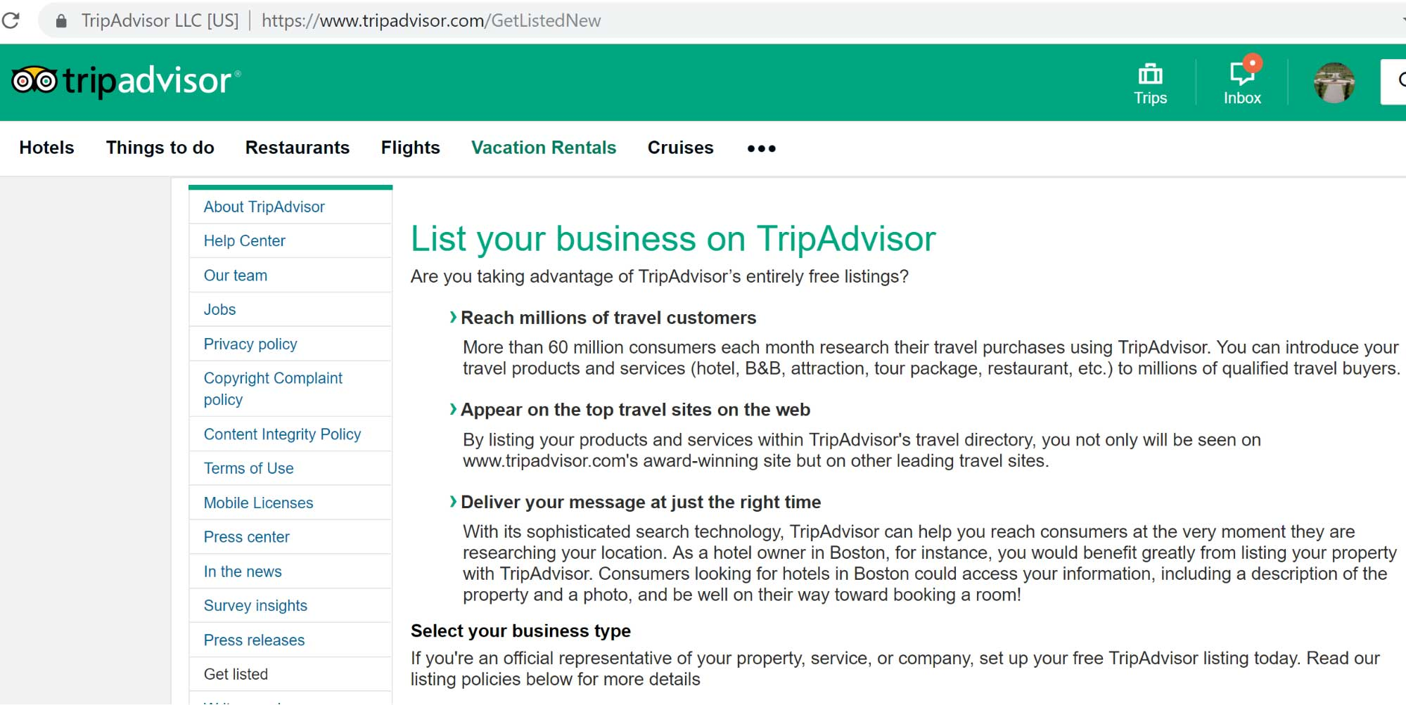 tripadvisor business listings