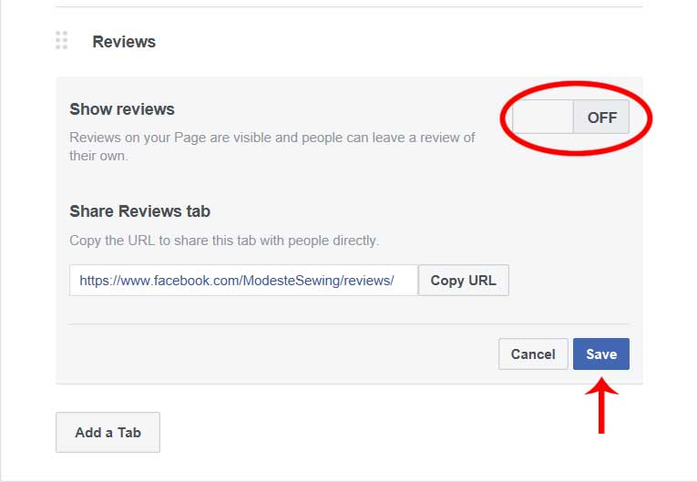turn off facebook reviews