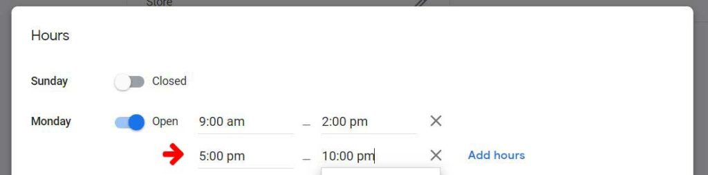 setting business hours on Google