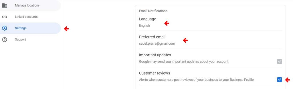 google review settings