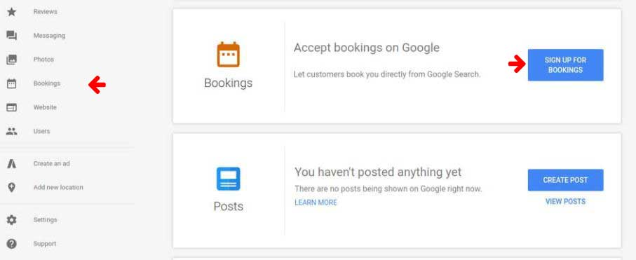 bookings on Google