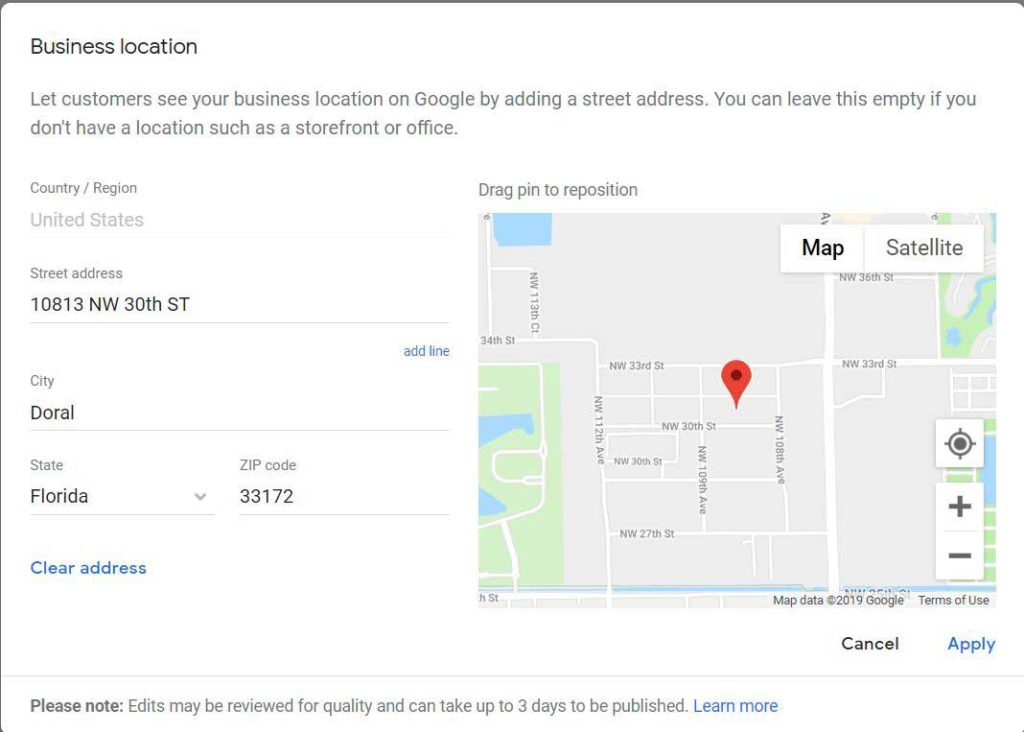 google business location